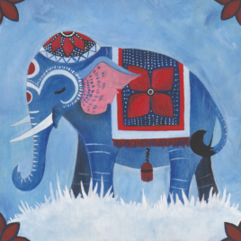 Original Art –  Acrylic Painting on Wood – 8″x8″ – Blue Elephant