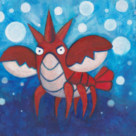 Original Art – Pokemon Painting – Acrylic on Wood – 4″x4″ – Corphish