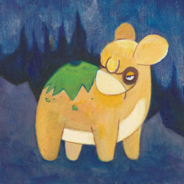 Original Art – Pokemon Painting – Acrylic on Wood – 4″x4″ – Numel