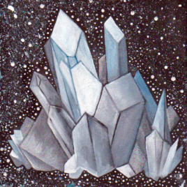 Original Art – Watercolor & Acrylic Painting on Wood – 4″x4″ – Space Quartz