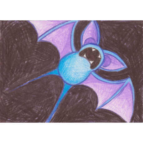 "041 - Zubat - Colored Pencil ACEO - 2.5""x3.5"""