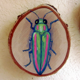 Original Art – Acrylic Painting on Birch Wood Round – Green & Pink Jewel Beetle