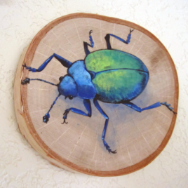 Original Art – Acrylic Painting on Birch Wood Round – Blue & Green Beetle
