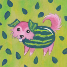 Original Art – Acrylic Painting on Wood – 4″x4″ – Melon Collie (Melancholy)
