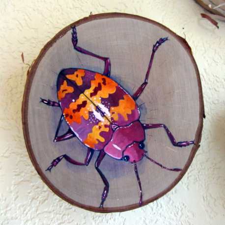 Pink and Orange Beetle Painting