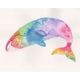 Original Art – Watercolor & Mixed Media Painting – 8″x10″ – Rainbow Bowhead Whale
