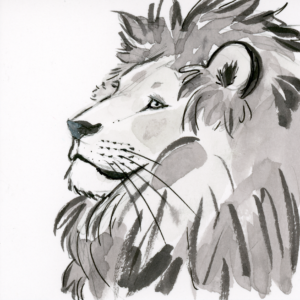 "Lion (Inktober) - 2018 - 3""x3"" - Ink on Watercolor Artboard"