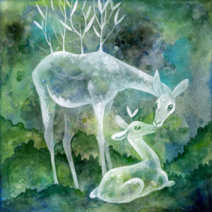 "Bramble and Sprout - 2018 - 8""x8"" - Watercolor on Aquabord"